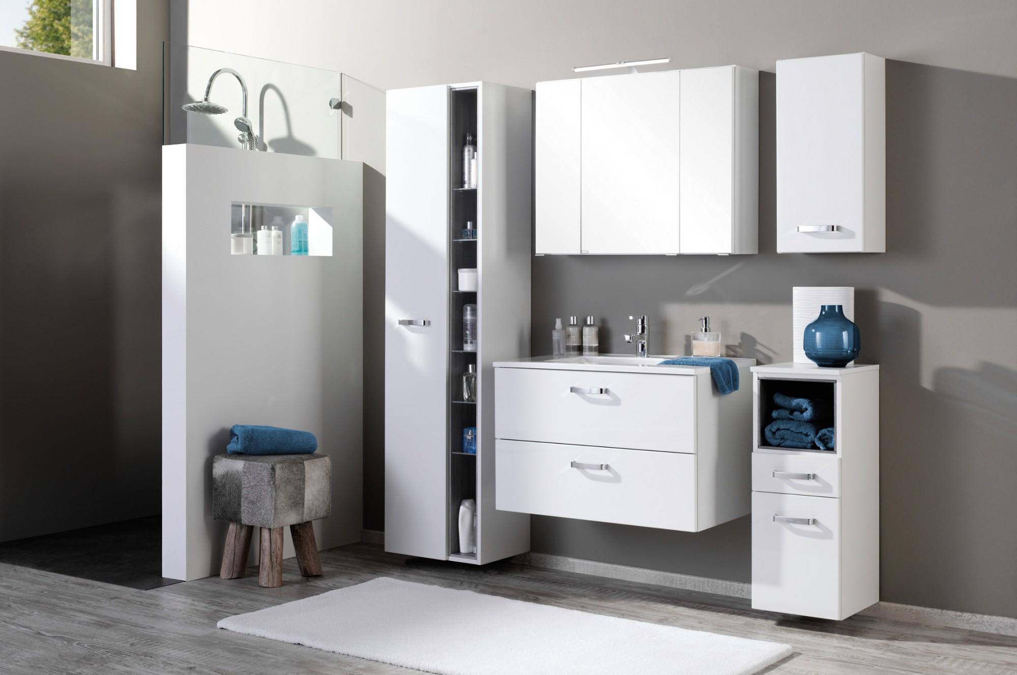 neu badezimmer hochschrank ancona badschrank seitenschrank 45 cm weiss ebay. Black Bedroom Furniture Sets. Home Design Ideas