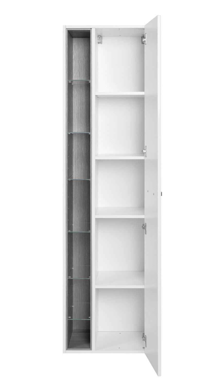 bad hochschrank ancona 1 t rig 7 regalf cher 45 cm breit hochglanz wei bad ancona. Black Bedroom Furniture Sets. Home Design Ideas