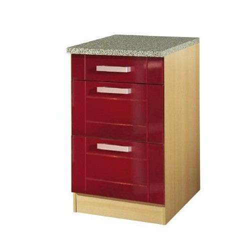 k chen unterschrank varel 3 schubladen 50 cm breit hochglanz bordeaux rot k che varel rot. Black Bedroom Furniture Sets. Home Design Ideas