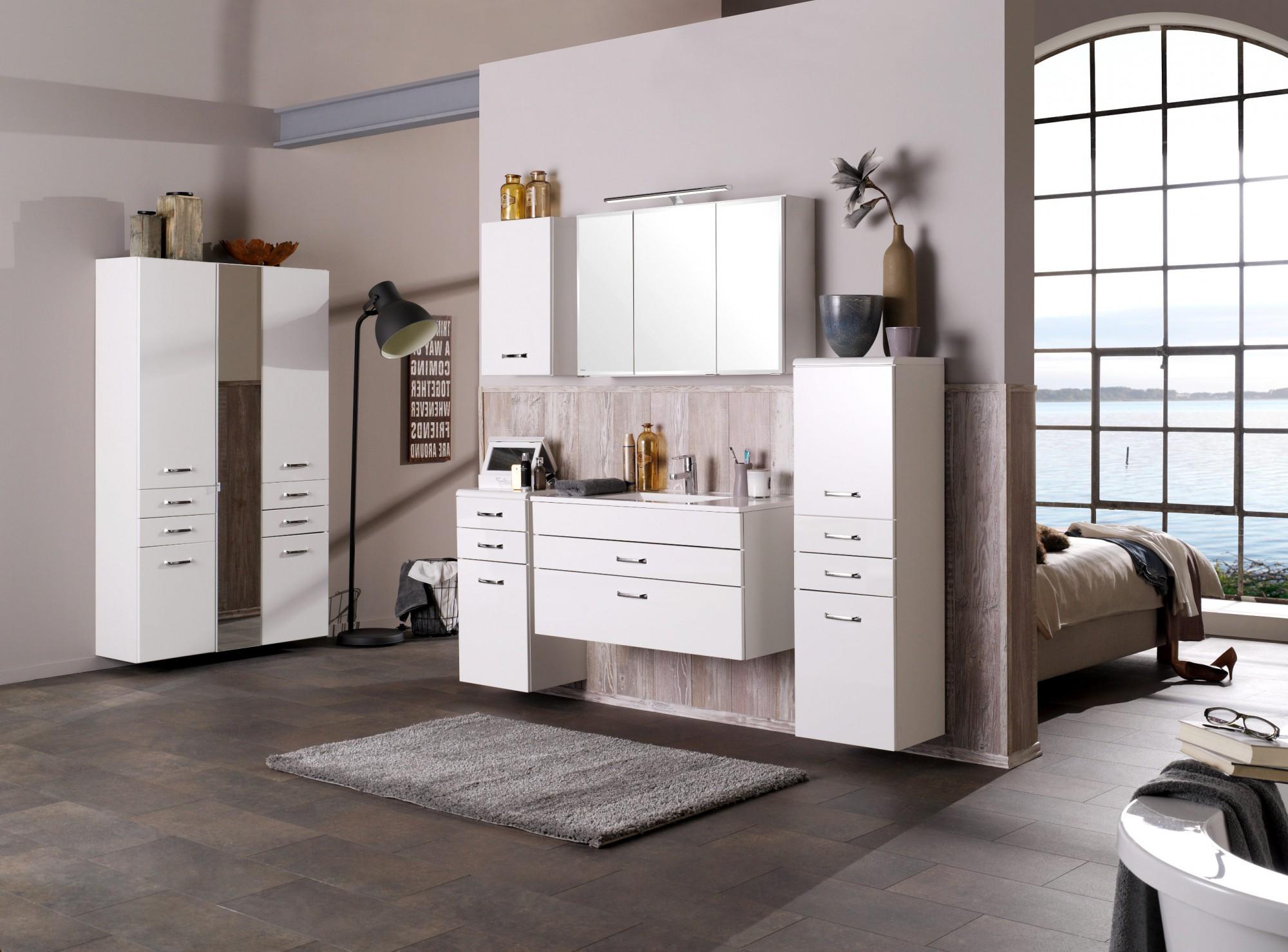 bad waschtisch fontana 1 schubkasten 1 auszug 80 cm breit hochglanz wei bad fontana. Black Bedroom Furniture Sets. Home Design Ideas