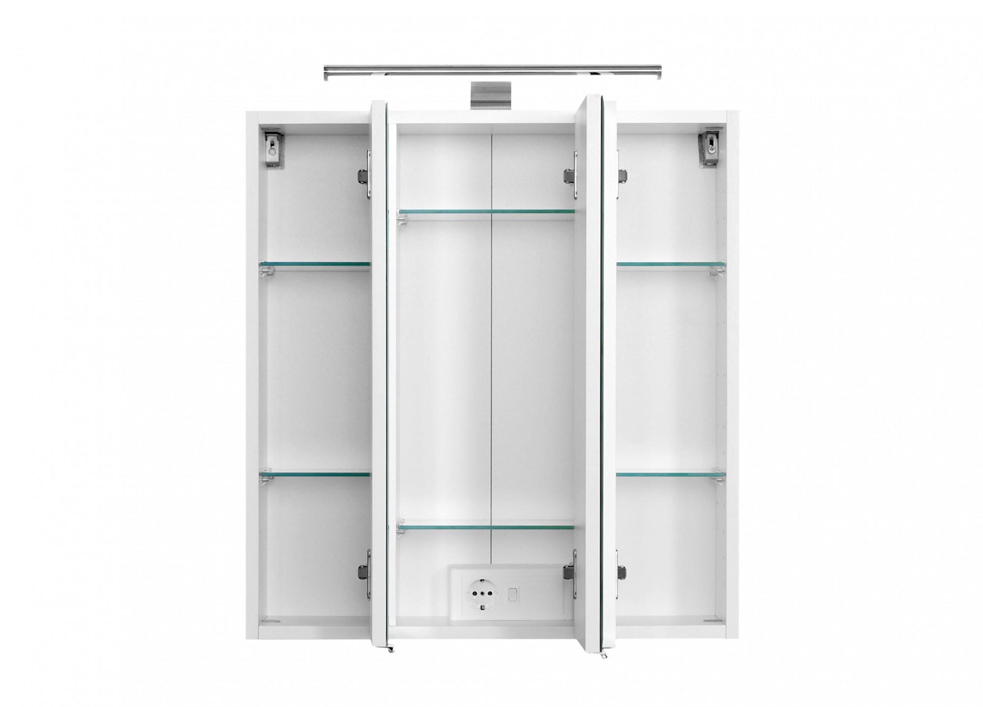 Bad Spiegelschrank - 3-türig, mit LED-Aufbauleuchte - 60 cm breit ...