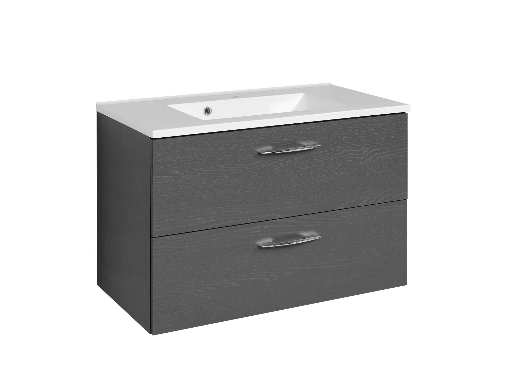 bad waschtisch portofino 2 ausz ge 80 cm breit graphitgrau bad portofino. Black Bedroom Furniture Sets. Home Design Ideas