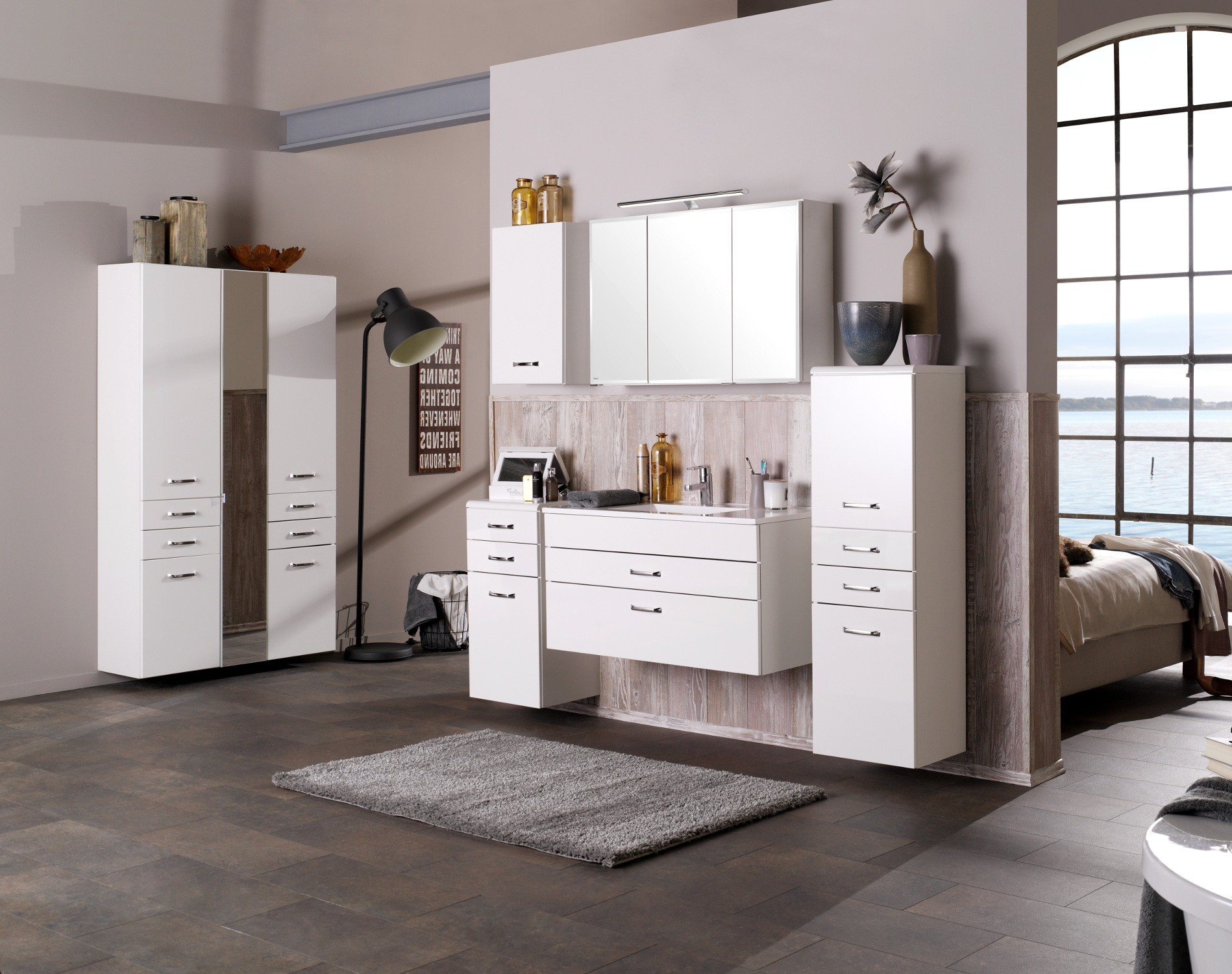 badm bel set fontana mit waschtisch 9 teilig 285 cm breit hochglanz wei bad badm belsets. Black Bedroom Furniture Sets. Home Design Ideas