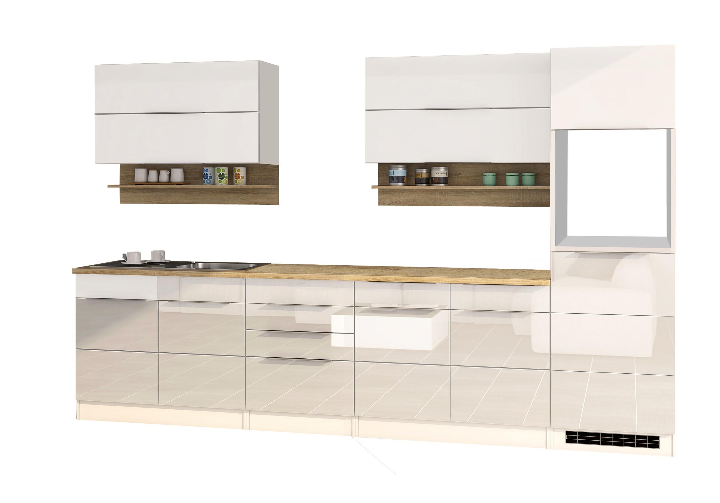 Küchenzeile HAMBURG - Küchen-Leerblock - Breite 320 cm - Hochglanz ...