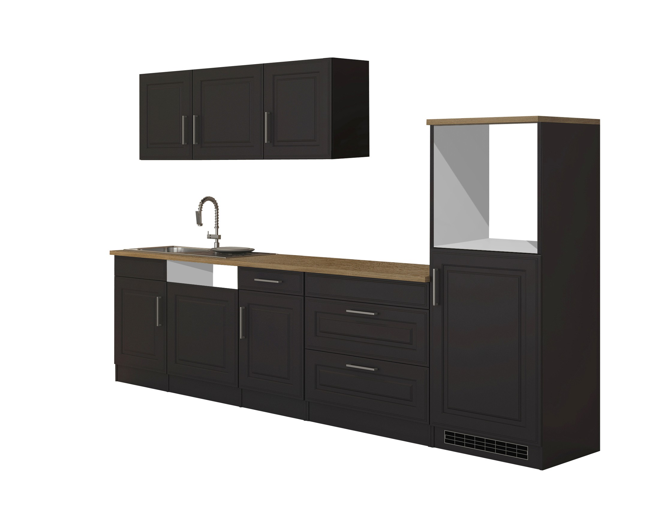 k chenzeile k ln k chen leerblock breite 300 cm grau graphit k che k chenzeilen. Black Bedroom Furniture Sets. Home Design Ideas