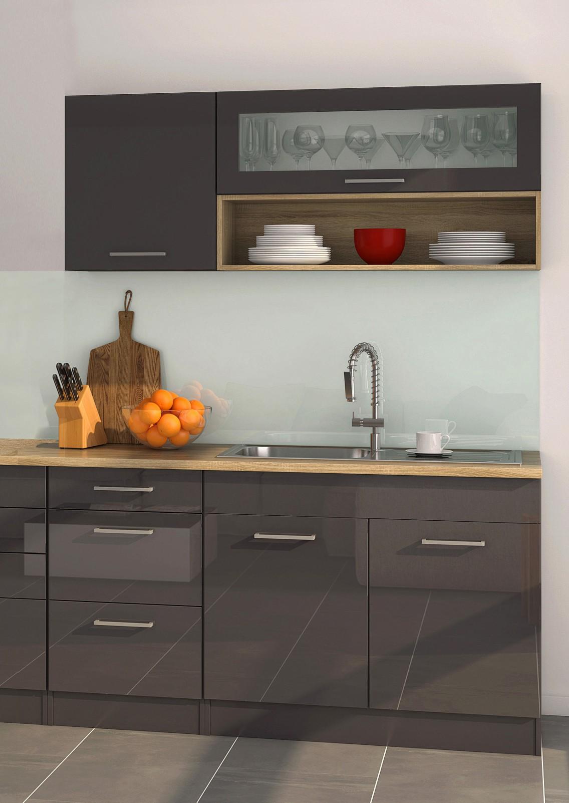k chenzeile m nchen vario 2 k chen leerblock breite 320 cm hochglanz grau graphit. Black Bedroom Furniture Sets. Home Design Ideas