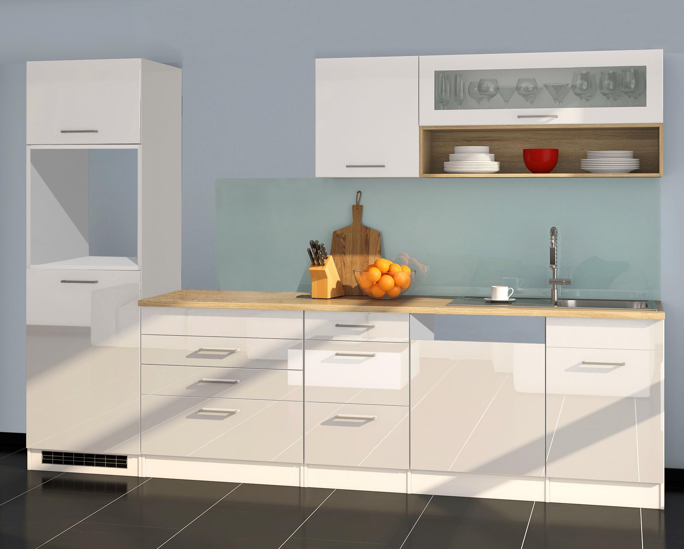 k chenzeile m nchen vario 2 k chen leerblock breite 300 cm hochglanz wei k che k chenzeilen. Black Bedroom Furniture Sets. Home Design Ideas