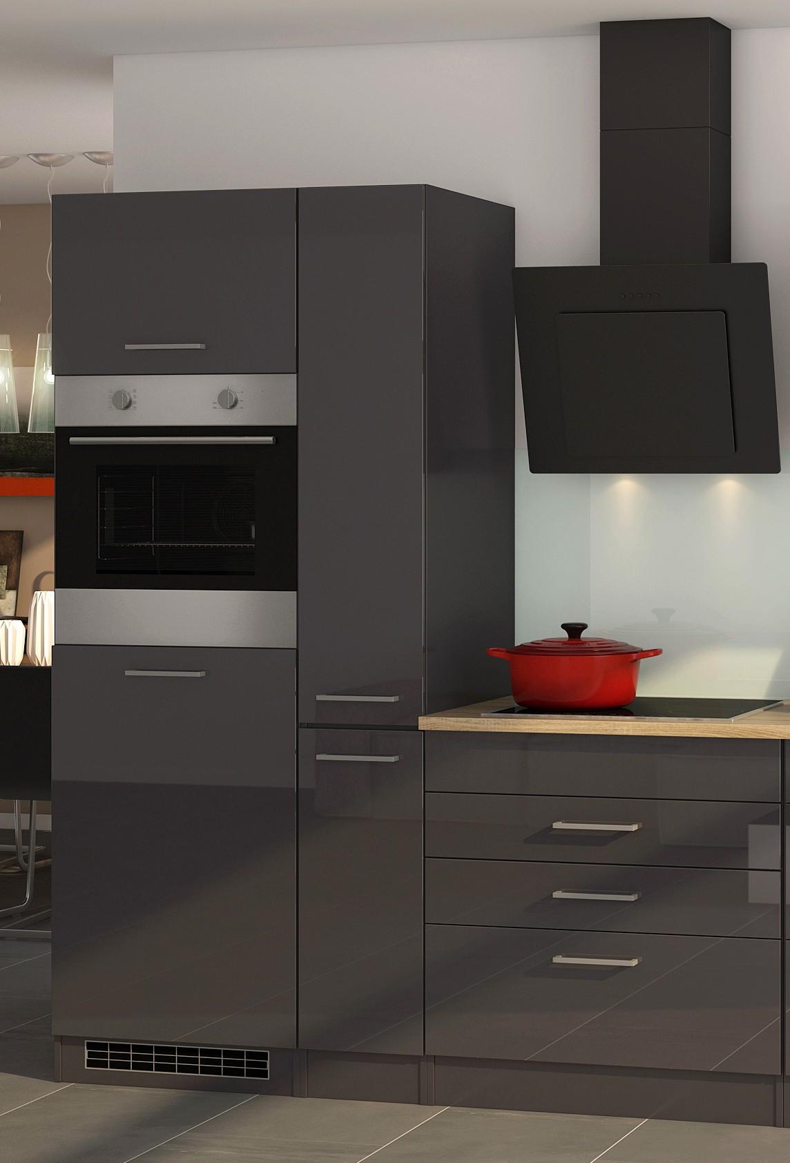 k chenzeile m nchen vario 2 k che mit e ger ten breite 330 cm hochglanz grau graphit. Black Bedroom Furniture Sets. Home Design Ideas