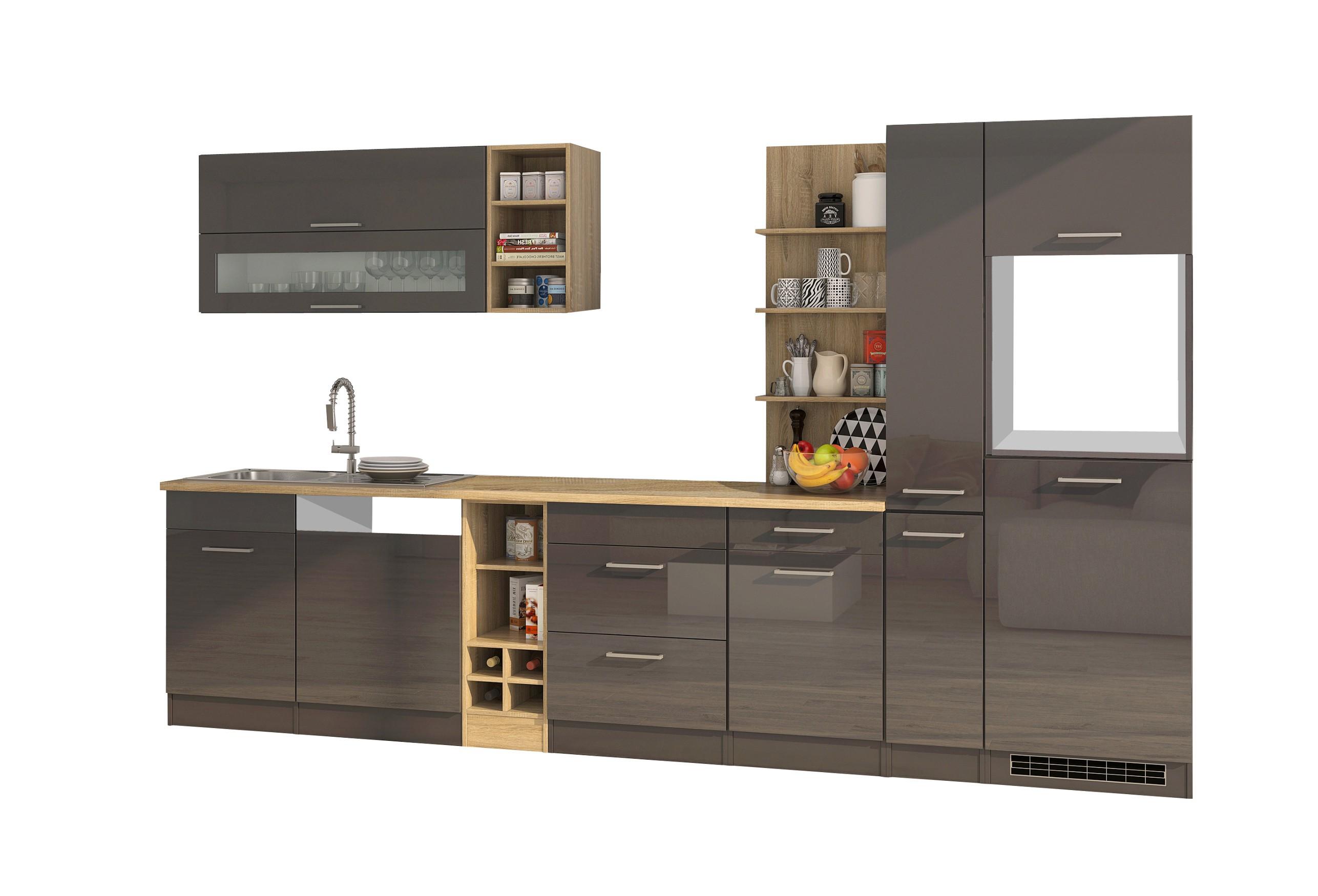 k chenzeile m nchen vario 3 k chen leerblock breite 340 cm hochglanz grau graphit. Black Bedroom Furniture Sets. Home Design Ideas