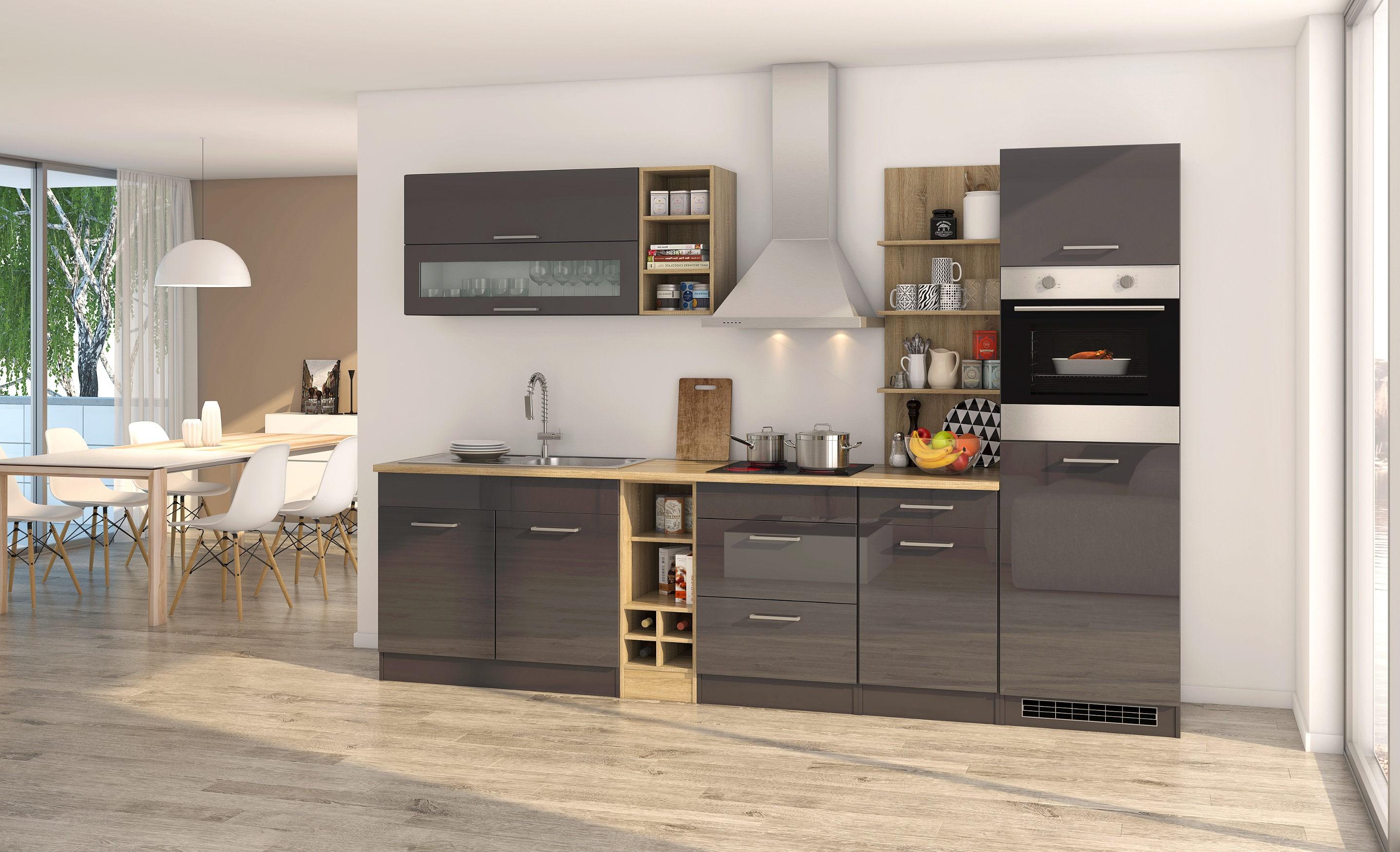 k chenblock m nchen k chenzeile mit elektroger ten 300 cm grau graphit ebay. Black Bedroom Furniture Sets. Home Design Ideas