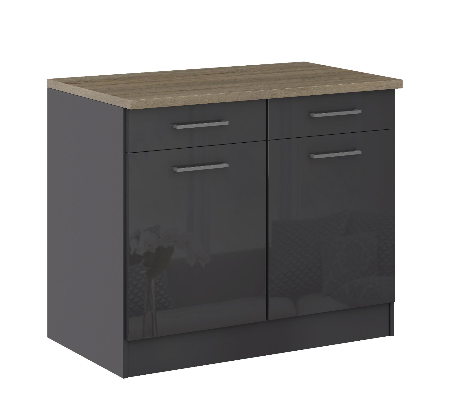 k chen unterschrank m nchen 2 t rig 100 cm breit. Black Bedroom Furniture Sets. Home Design Ideas