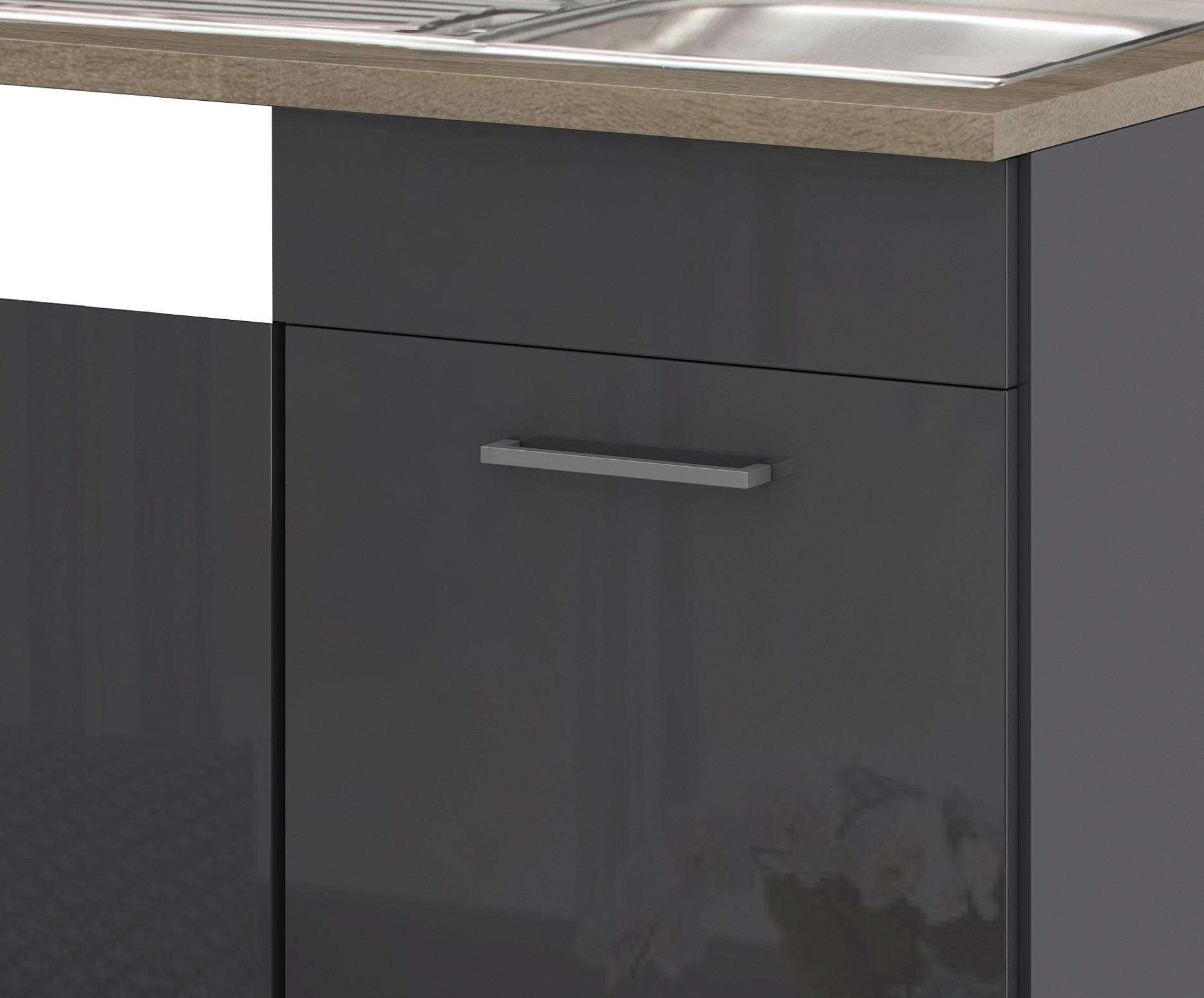 k chen sp lcenter m nchen 1 t rig 110 cm breit hochglanz grau graphit k che sp lenschr nke. Black Bedroom Furniture Sets. Home Design Ideas