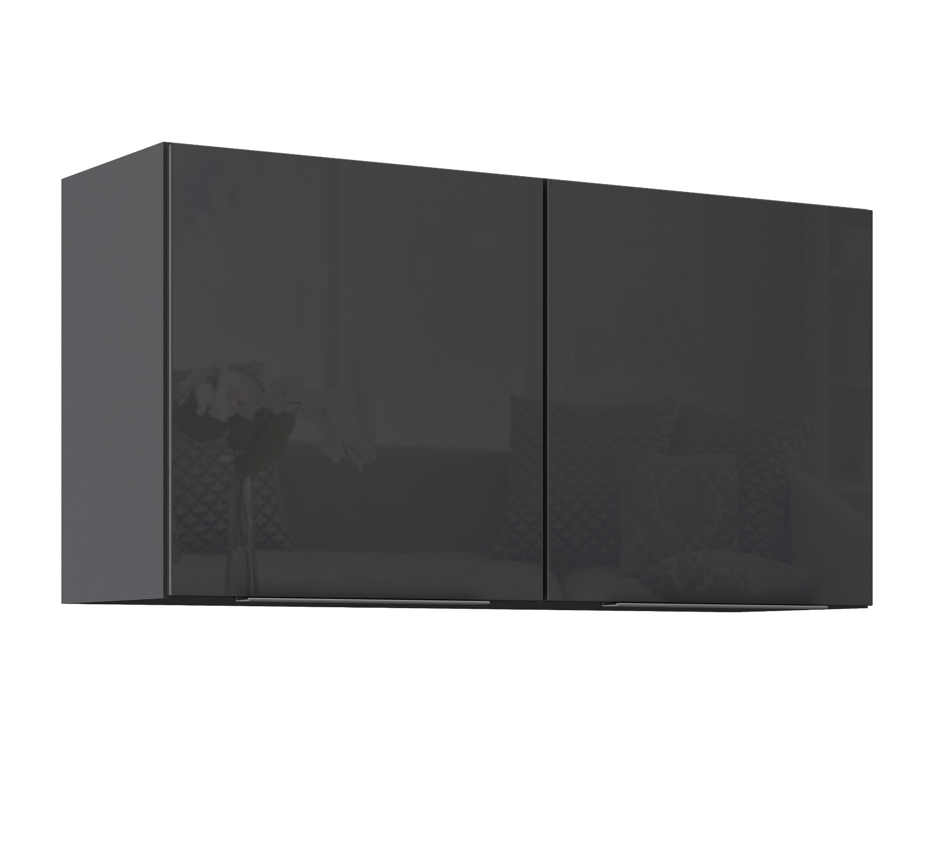 k chen h ngeschrank hamburg 2 t rig breite 100 cm hochglanz grau graphit k che hamburg. Black Bedroom Furniture Sets. Home Design Ideas