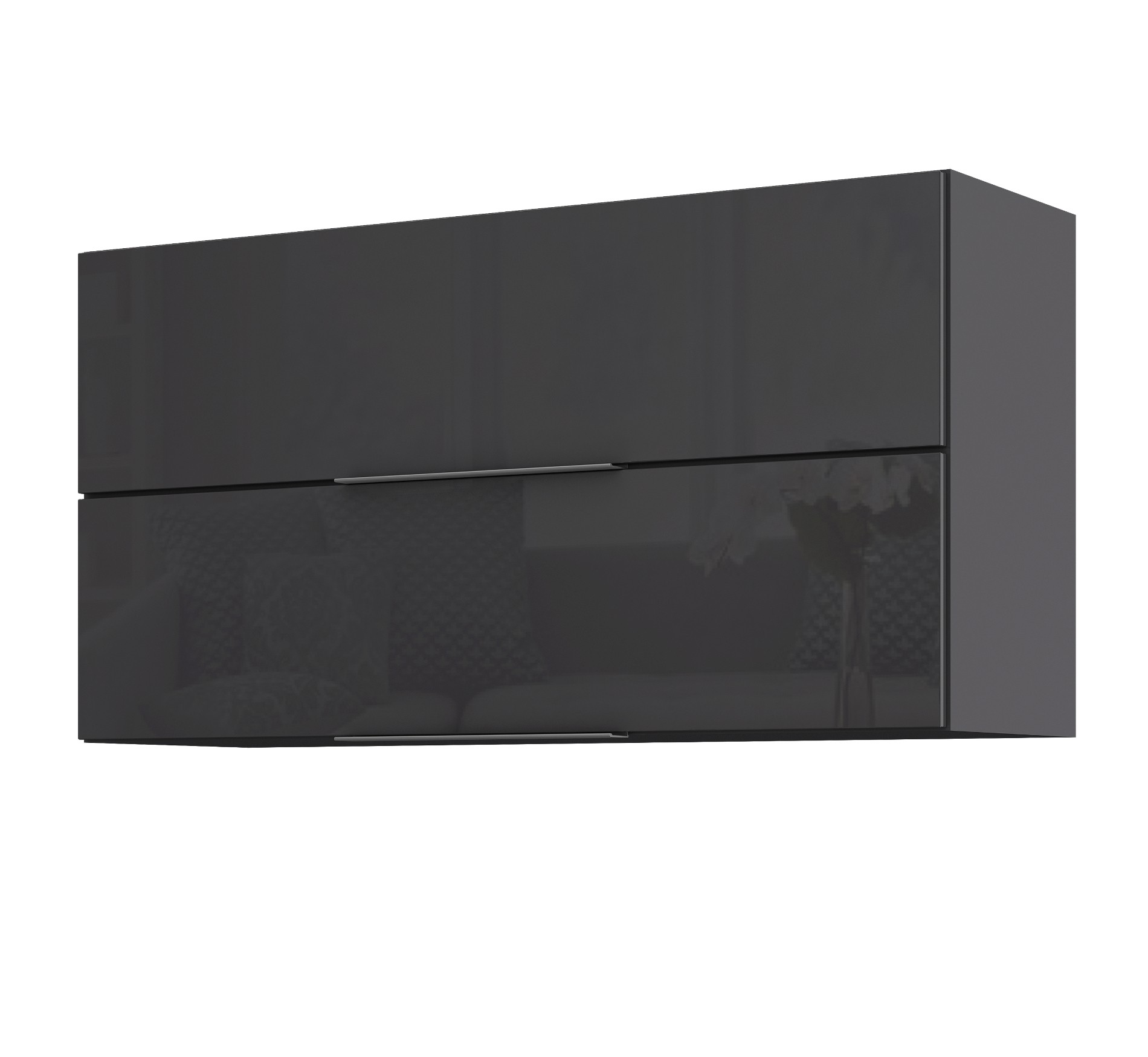 k chen h ngeschrank hamburg 2 klappen 100 cm breit hochglanz grau k che hamburg. Black Bedroom Furniture Sets. Home Design Ideas
