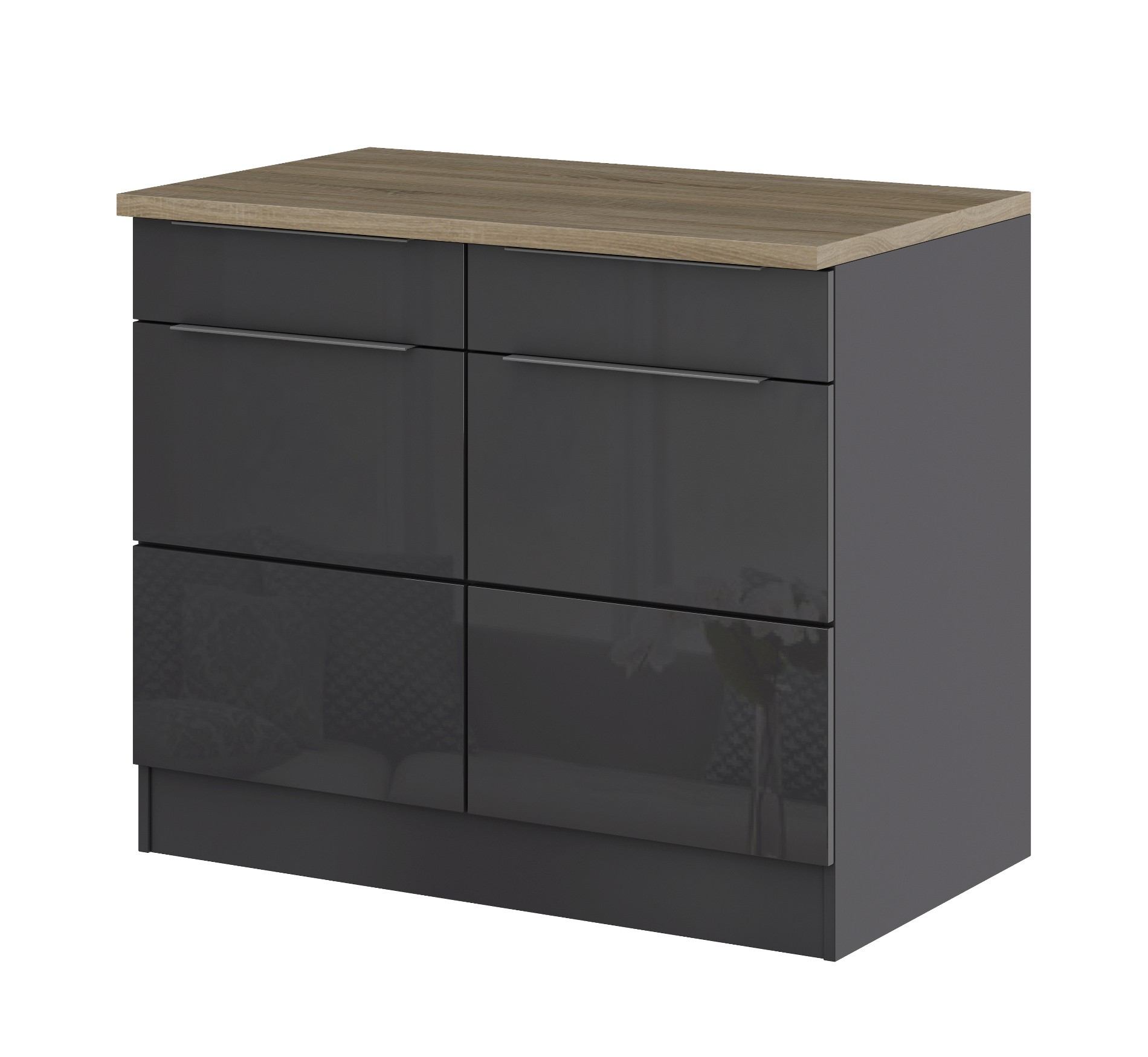 k chen unterschrank hamburg 2 t rig 100 cm breit hochglanz grau graphit k che hamburg. Black Bedroom Furniture Sets. Home Design Ideas
