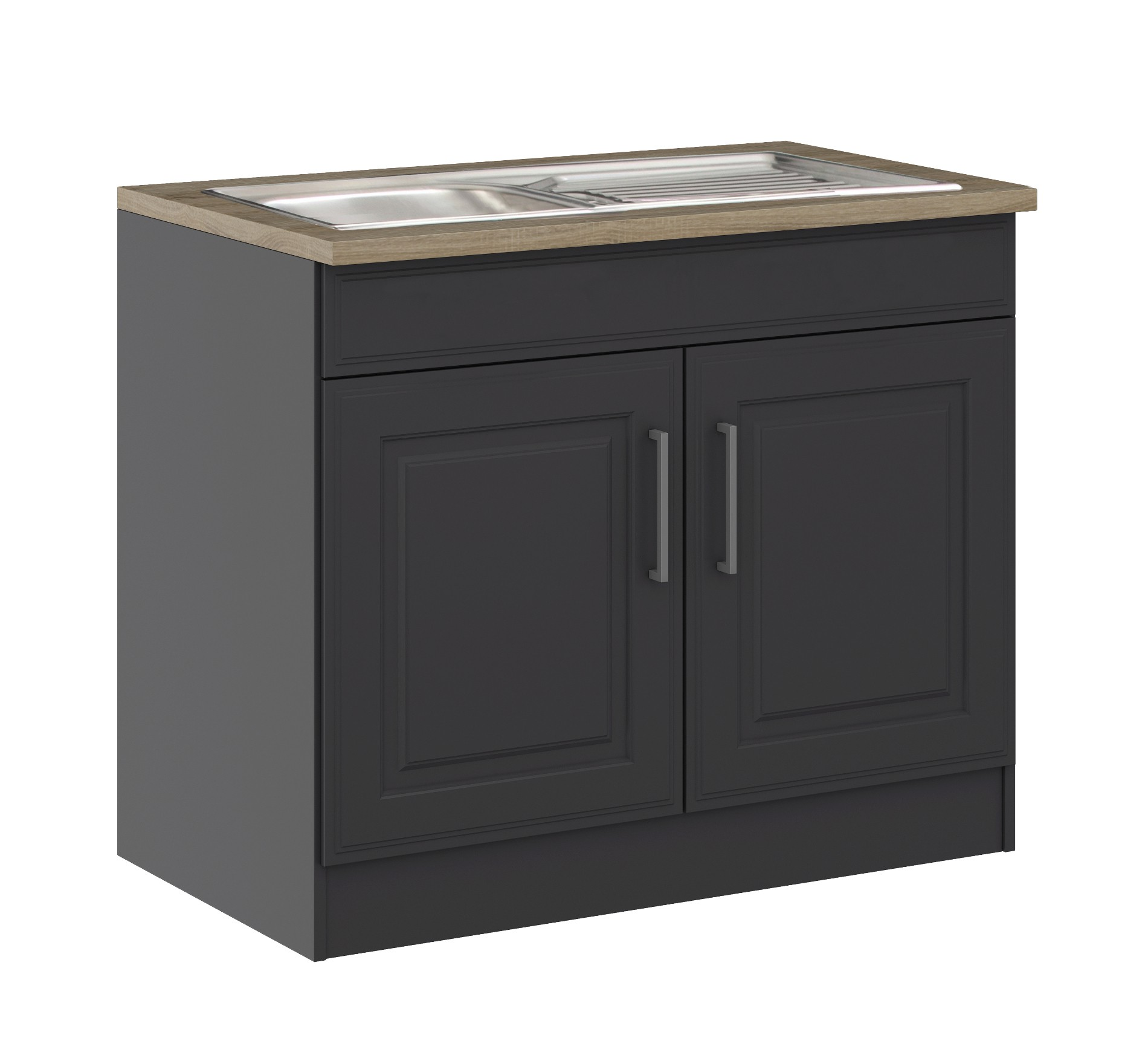 k chen sp lenschrank k ln 2 t rig 100 cm breit grau graphit k che sp lenschr nke. Black Bedroom Furniture Sets. Home Design Ideas