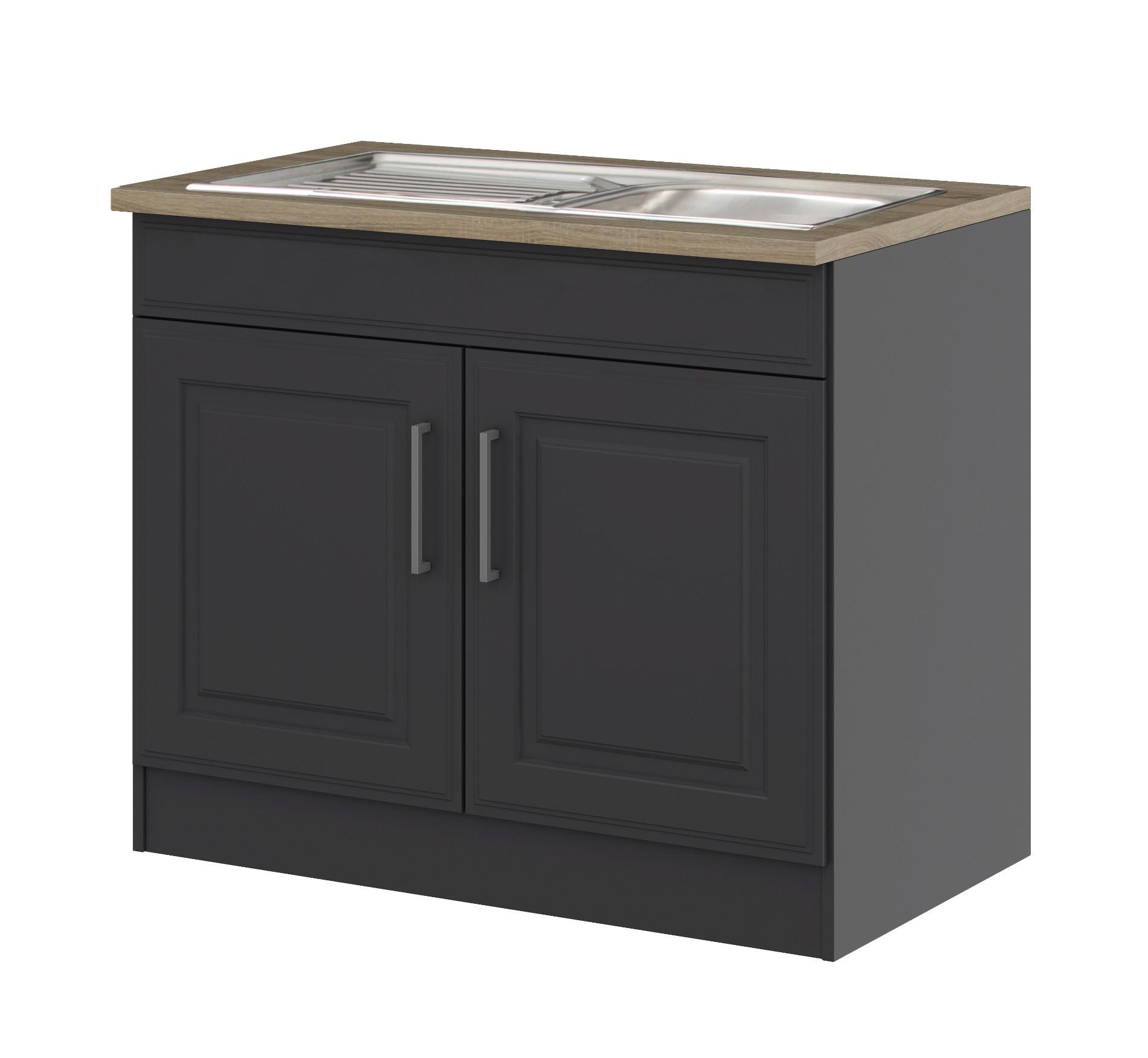 k chen sp lenschrank k ln 2 t rig 100 cm breit grau. Black Bedroom Furniture Sets. Home Design Ideas