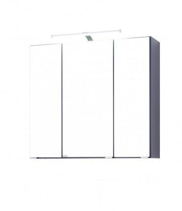 bad spiegelschrank bologna 3 t rig mit led lichtleiste 60 cm breit graphitgrau bad bologna. Black Bedroom Furniture Sets. Home Design Ideas