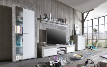 wohnwand aosta 5 teilig 300 cm breit wei beton. Black Bedroom Furniture Sets. Home Design Ideas