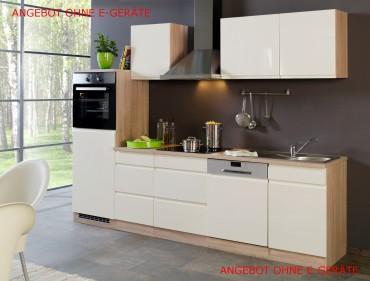 Küchenzeile CARDIFF - Küchen Leerblock - Breite 280 cm - Hochglanz Creme