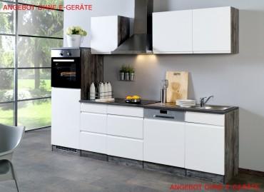 Küchenzeile CARDIFF - Küchen Leerblock - Breite 280 cm - Hochglanz Weiß