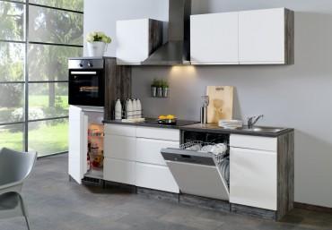 Küchenzeile CARDIFF - Küchen mit E-Geräte - Breite 280 cm - Hochglanz Weiß