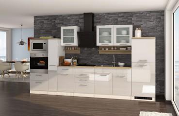 k chenzeile m nchen vario 4 k che mit e ger ten breite 360 cm hochglanz wei k che. Black Bedroom Furniture Sets. Home Design Ideas