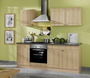 Küchenzeile BOSTON - Küchenblock mit E-Geräte und Induktionskochfeld - Breite 210 cm - Buche
