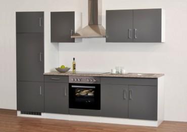 Küchenzeile PORTA - Küchen mit E-Geräte - Breite 270 cm - Grau / Weiß