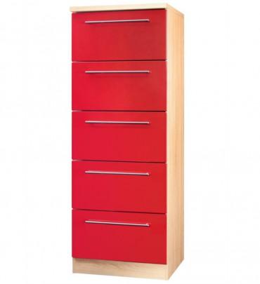 Küchen-Midischrank HUSUM - 5 Auszüge - 60 cm breit - Hochglanz Rot / Eiche Sonoma-Sägerau