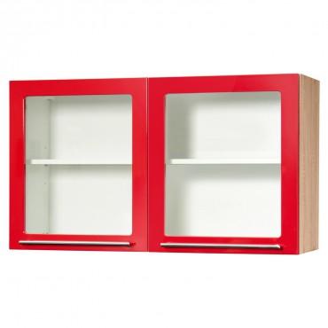 Küchen-Hängeschrank HUSUM - 2-türig - 100 cm breit - Hochglanz Rot / Eiche Sonoma-Sägerau