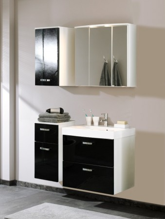 bad waschbeckenunterschrank denver 1 klappe 1 auszug 70 cm breit hochglanz schwarz bad denver. Black Bedroom Furniture Sets. Home Design Ideas