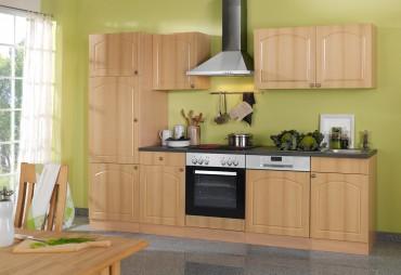 Küchenzeile BOSTON - Küchen mit E-Geräte - Breite 280 cm - Buche