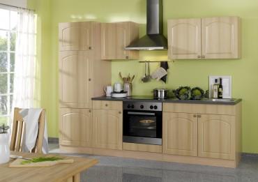 Küchenzeile BOSTON - Küchen mit E-Geräte - Breite 270 cm - Buche