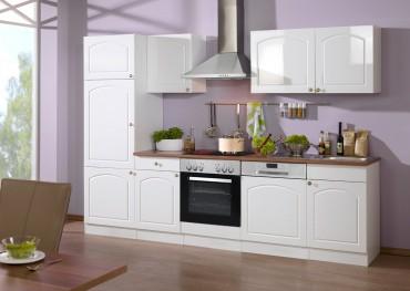 Küchenzeile BOSTON - Küchen mit E-Geräte - Breite 280 cm - Hochglanz Weiß