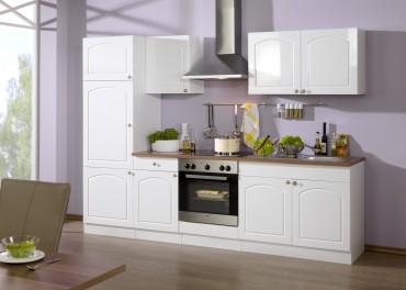 Küchenzeile BOSTON - Küchen mit E-Geräte - Breite 270 cm - Hochglanz Weiß
