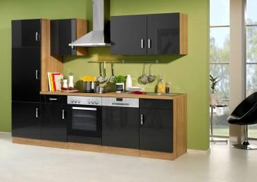 Küchenzeile ATLANTA - Küchen mit E-Geräte - Breite 280 cm - Hochglanz Anthrazit