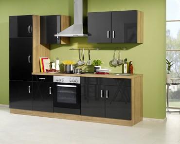 Küchenzeile ATLANTA - Küchen mit E-Geräte - Breite 270 cm - Hochglanz Anthrazit