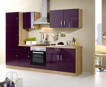 Küchenzeile ATLANTA - Küchen mit E-Geräte - Breite 270 cm - Hochglanz Aubergine