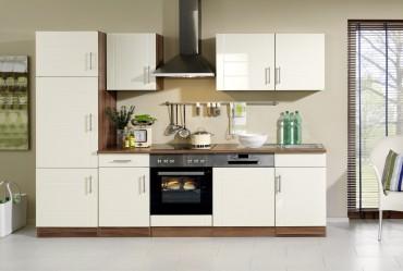 Küchenzeile NEVADA - Küchen mit E-Geräte - Breite 280 cm - Hochglanz Creme