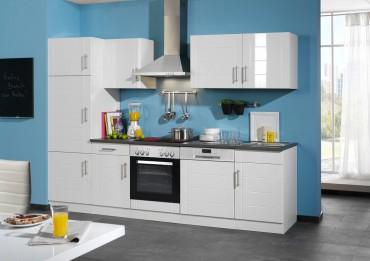 Küchenzeile NEVADA - Küchen mit E-Geräte - Breite 280 cm - Hochglanz Weiß
