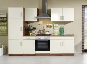 Küchenzeile NEVADA - Küchen mit E-Geräte - Breite 270 cm - Hochglanz Creme