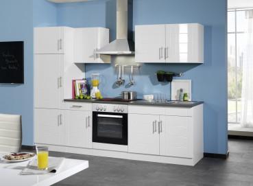 Küchenzeile NEVADA - Küchen mit E-Geräte - Breite 270 cm - Hochglanz Weiß
