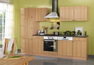 Küchenzeile BOSTON - Küchenblock mit E-Geräte und Induktionskochfeld - Breite 280 cm - Buche