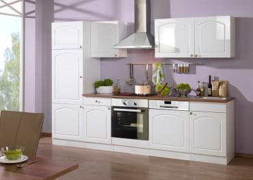 Küchenzeile BOSTON - Küchenblock mit E-Geräte und Induktionskochfeld - Breite 280 cm - Hochglanz Weiß