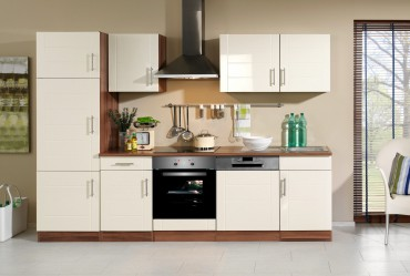 Küchenzeile NEVADA - Küchenblock mit E-Geräte und Induktionskochfeld - Breite 280 cm - Creme