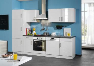 Küchenzeile NEVADA - Küchenblock mit E-Geräte und Induktionskochfeld - Breite 280 cm - Weiß