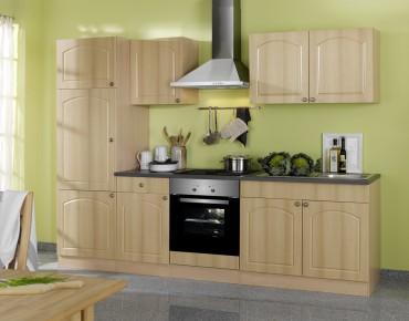 Küchenzeile BOSTON - Küchenblock mit E-Geräte und Induktionskochfeld - Breite 270 cm - Buche