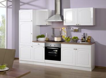 Küchenzeile BOSTON - Küchenblock mit E-Geräte und Induktionskochfeld - Breite 270 cm - Hochglanz Weiß