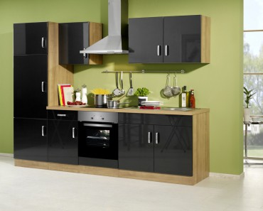 Küchenzeile ATLANTA - Küchenblock mit E-Geräte und Induktionskochfeld - Breite 270 cm - Anthrazit